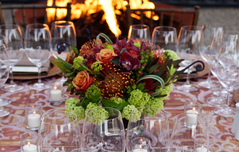 Beautiful Flower Arrangement on Event Dining Table