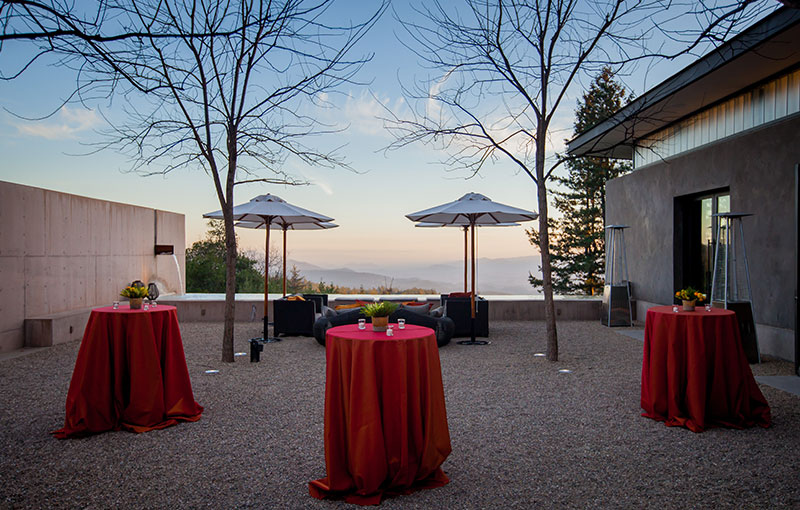 Courtyard with Cocktail Tables and View