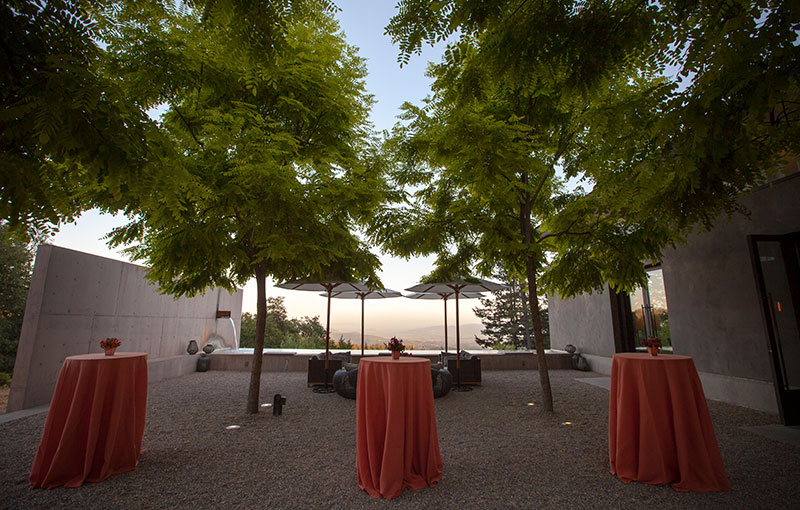 Courtyard with Cocktail Tables and Shady Trees
