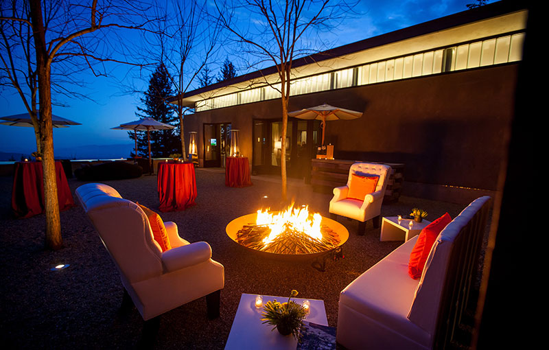 Courtyard at Night with Firepit