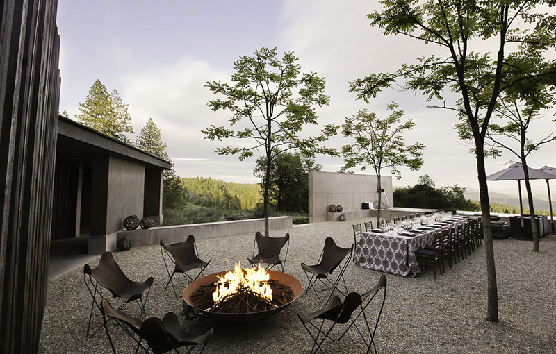 Courtyard in Evening with Firepit